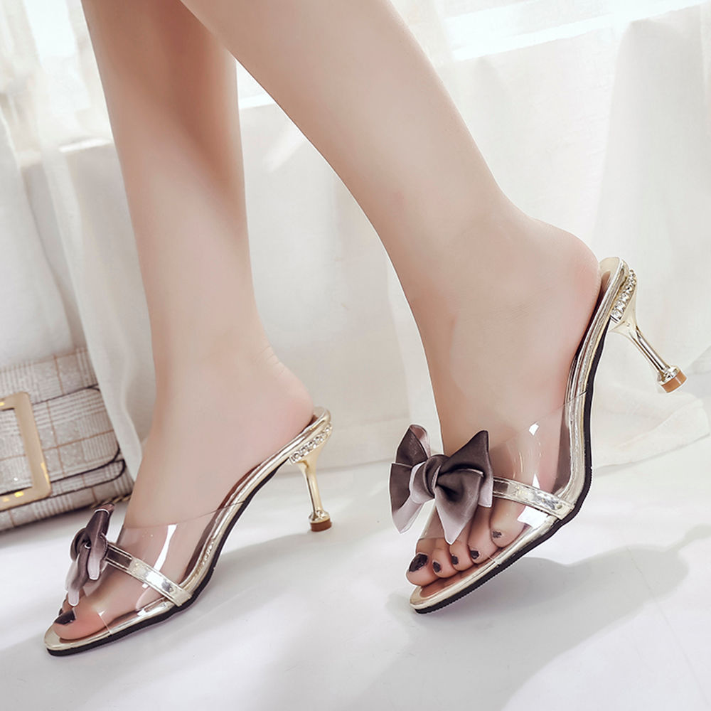 Gold Sandals Bow Stiletto With Women ZTlOPkXwiu