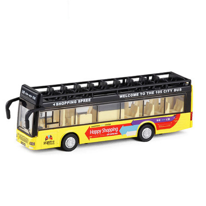Double Decker Metal Pull Back Yellow City Bus Toy with Light & Sound