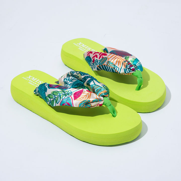 43017a1a6dbe2d Buy Women Green Printed Thong Slippers online @ ₹669 | Hopscotch