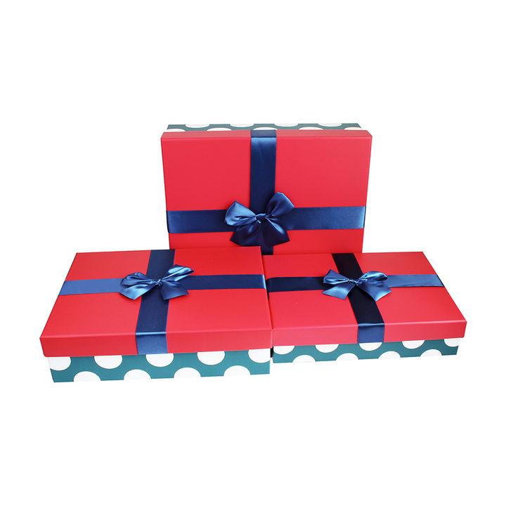 Black Polka Bottom Rectangle Gift Box Set Of 3