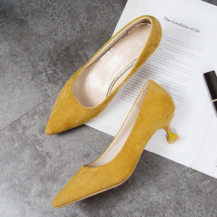 2c7ec30e5ce Hopscotch - Vogue lady - Women Yellow Kitten Heel Pumps