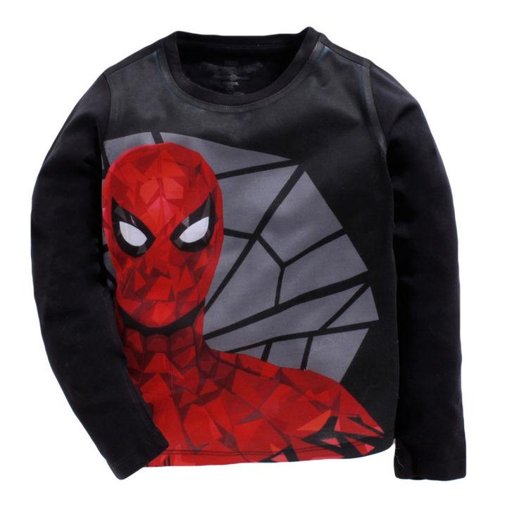 8f4c3f195 Hopscotch - Crossroads - Spiderman Print Full Sleeves Black T-Shirt