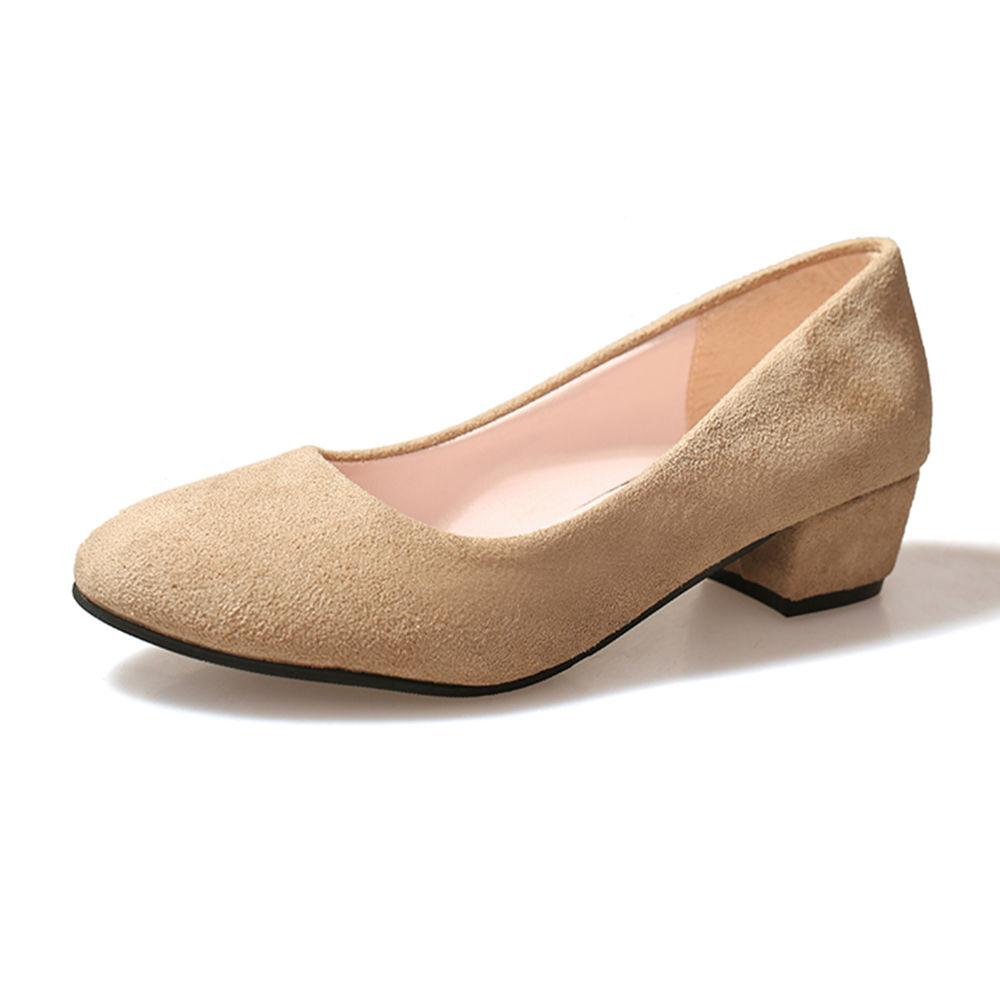 4b2b8b7c197 Hopscotch - Trendy shop - Women Beige Block Heel Pumps
