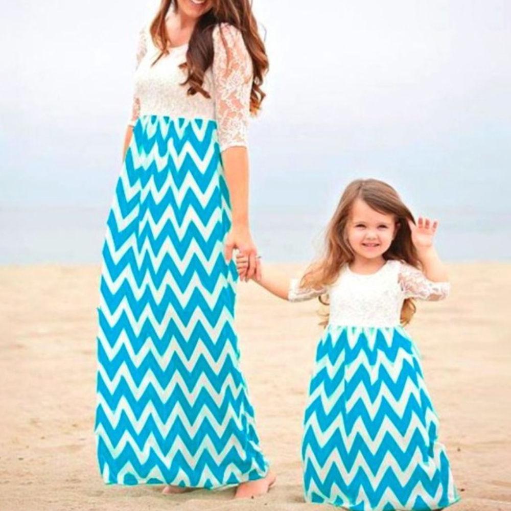 Buy Zig Zag Print Round Neck Dress For Daughter Blue Online