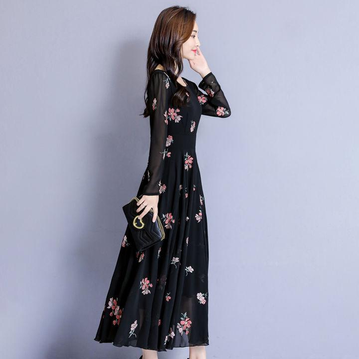 cd56334a2a3 Hopscotch - Kefei - Floral Print Full Sleeves Round Neck Maxi Dress - Black