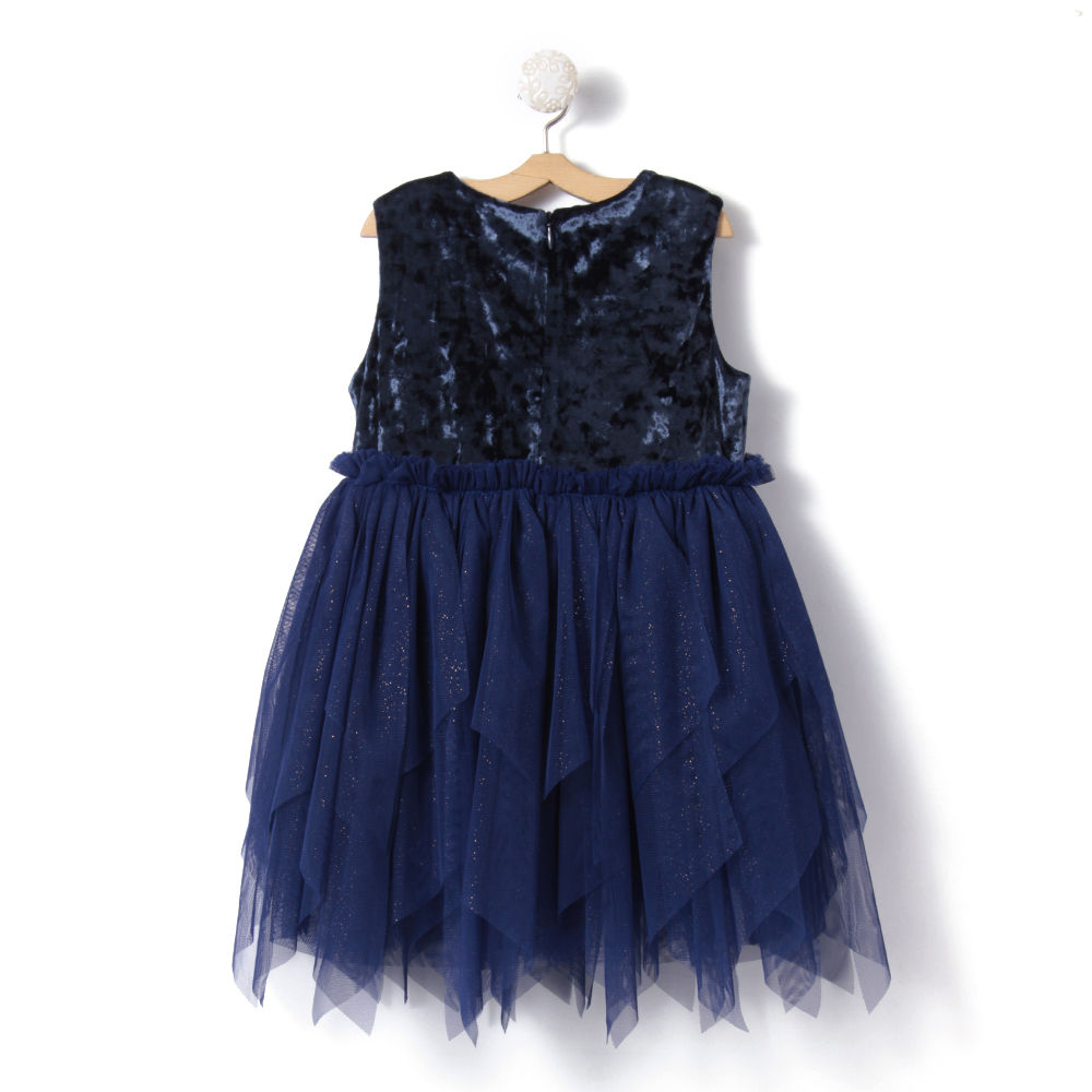 51d8e28a4434 Hopscotch - Kids Dew - Solid Navy Colored Sleeveless Casual Dress
