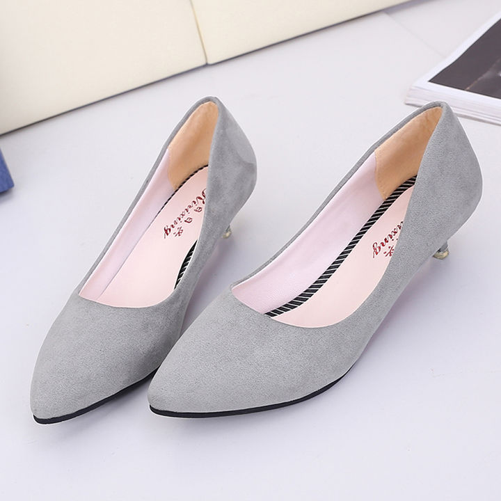 2b7d429be4a Hopscotch - Trendy shop - Women Gray Kitten Heel Pumps