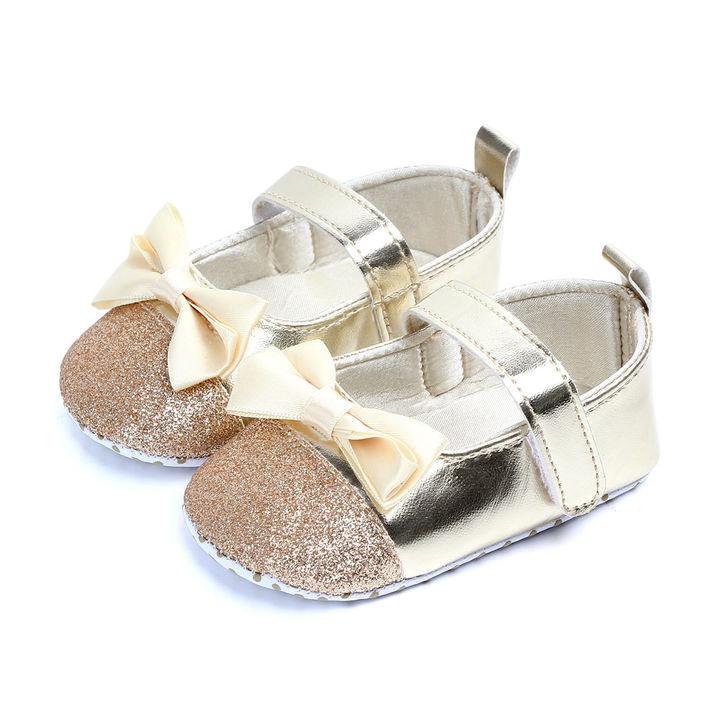 20b633ecfeec Hopscotch - Zia Shoes - Gold Bow Applique Booties