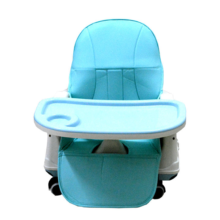 Safety Toddler Feeding Booster Seat Dining Table Chair With Wheel And Cushion Blue