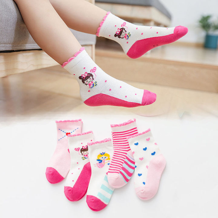 5cc6ffbff Hopscotch - CaiZhen - Set Of 5 Cute Girls Printed Socks - Pink