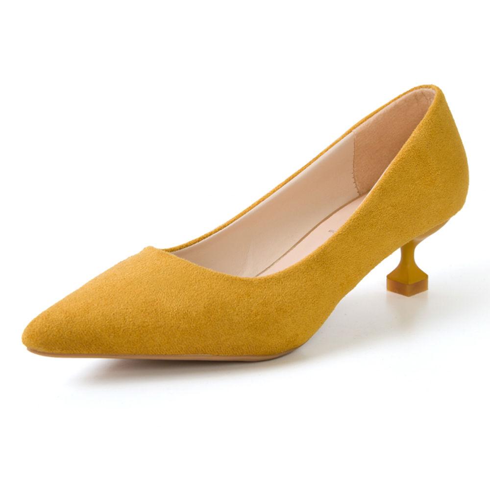 Women Yellow Kitten Heel Pumps
