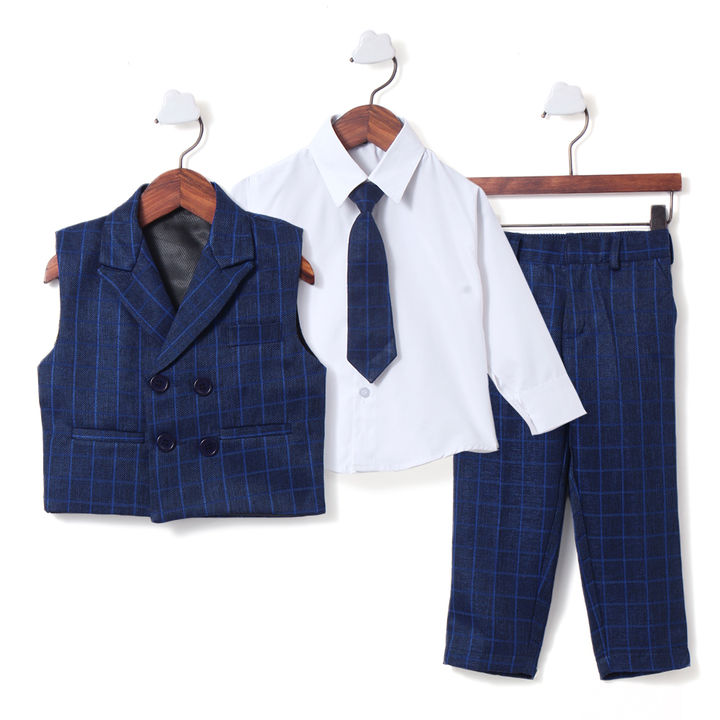 73306cb871 Navy Blue Check Waistcoat with Shirt, Tie & Pant Set