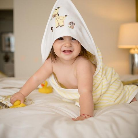 eb8f445590c 100% Premium Cotton Terry Hooded Baby   Toddlers Bath Towel - Lemon Yellow  Stripes