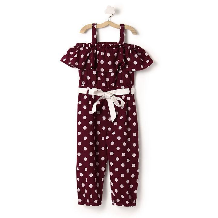 f80bad7226 Buy Wine Colour Polka Print Off Shoulder Jumpsuit online @ ₹699 | Hopscotch