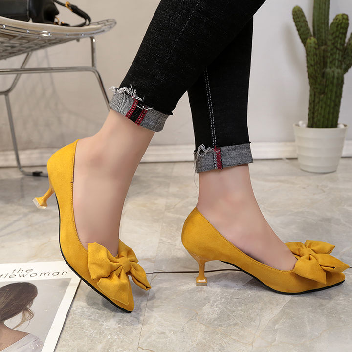 815f7921ef4 Hopscotch - Vogue lady - Women Yellow Kitten Heel Pumps With Bow