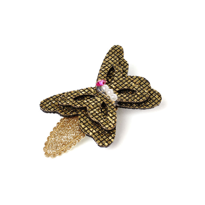 Big Glittery Butterfly Hair Clip - Gold