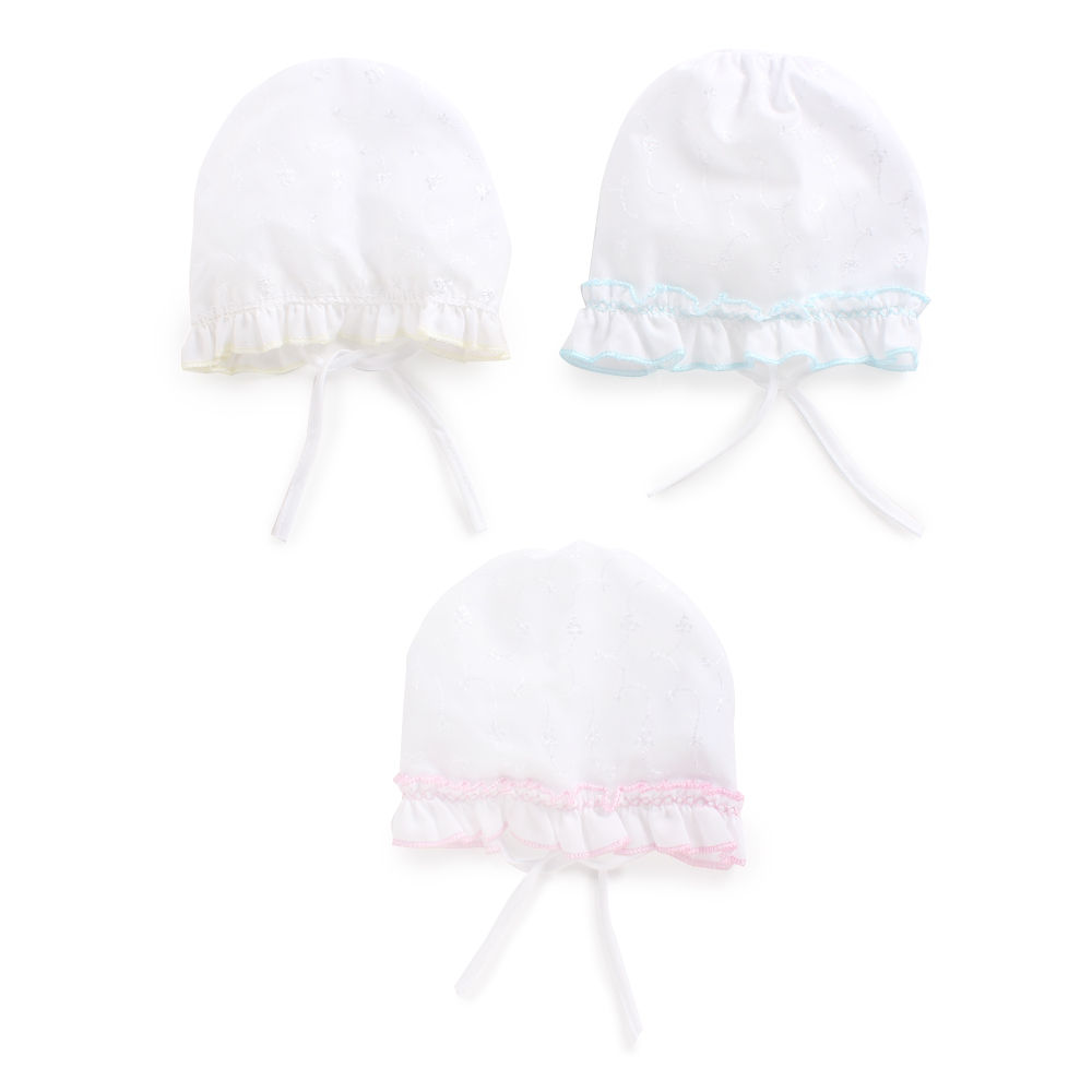 Hopscotch - Bubbles - Set Of 3 Frill Infant Cap - White aa335ef3938