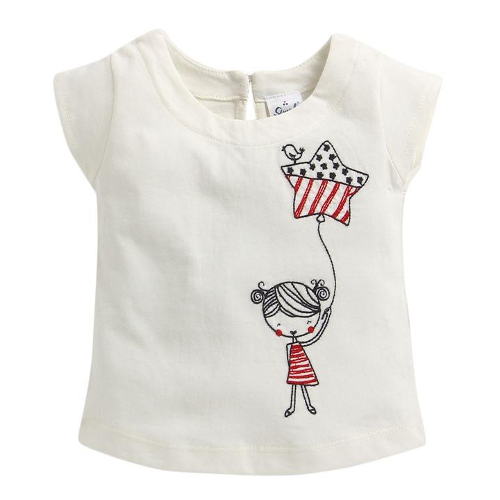 be18d568161 Hopscotch - Simply - Off White Girl Print Half Sleeve T-Shirt