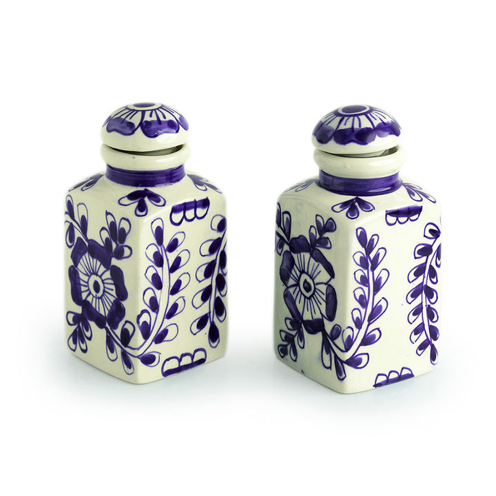 a096a4f26401 Hopscotch - ExclusiveLane - Indigo Pictured' Mughal Hand-Painted Ink Blue  Air Tight Multi Utility Storage Ceramic Jars