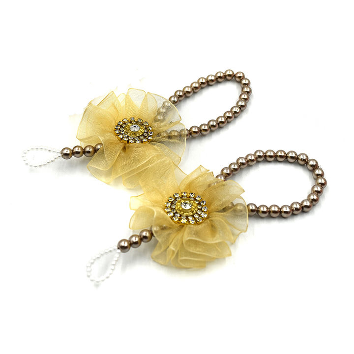 Barefoot Sandals Ruffle Flower-Gold