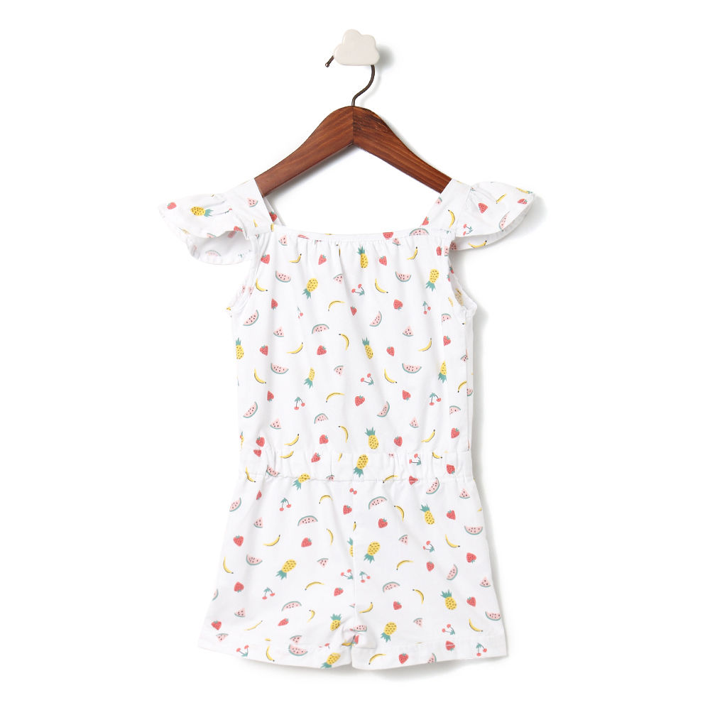 7e6806629ee Hopscotch - Kiddopanti - White Ruffle Yoke Short Romper With Frill Cap  Sleeve