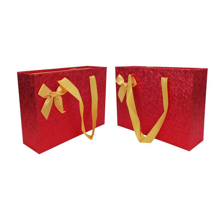 Birthday Wedding Anniversary Set of 2 Gift Box Shiny Red Big