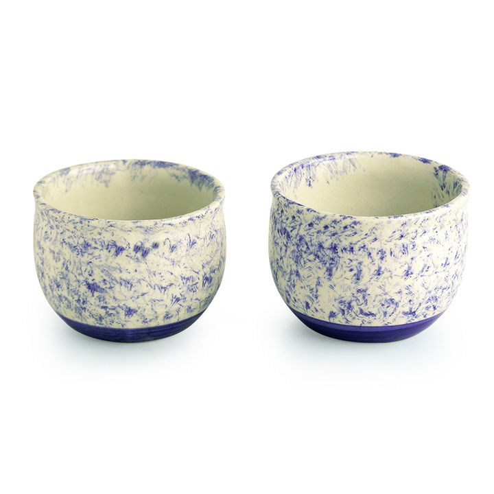 Floral Shades' Mughal Hand-Painted Ink Blue Ceramic Planters (Set Of 2)