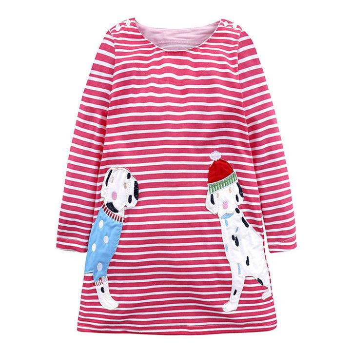 f697cd732d8d4 Hopscotch - Beiyi angel - Red Dog Applique Full Sleeve Dress