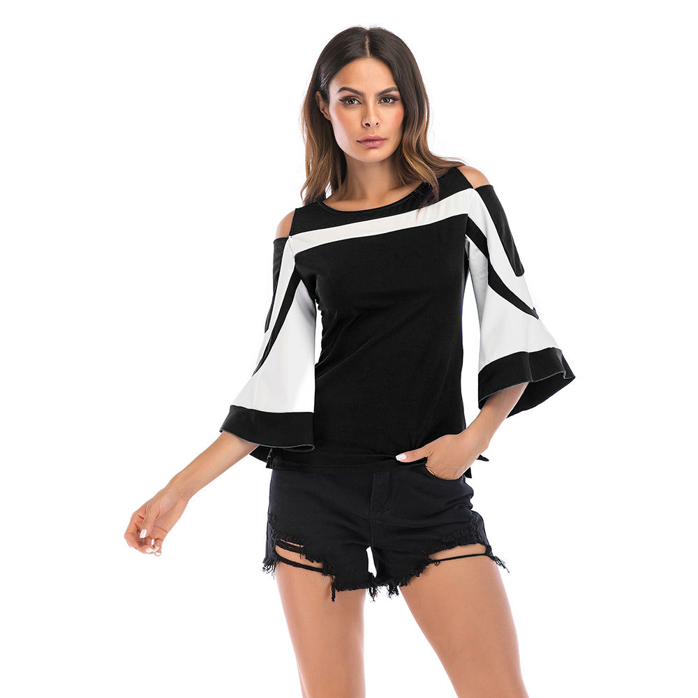 9d4d688df55f0f Hopscotch - YYFS - Round Neck Bell Sleeves Top - Black