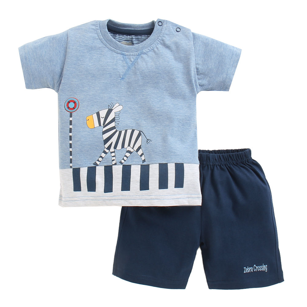 9197de75f3 Hopscotch - Mini Taurus - Blue Zebra Print T-Shirt And Short Set