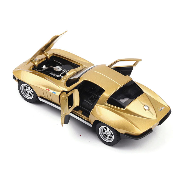 Golden 1:32 Die Cast Metal Chevrolet Corvette Pull Back Car Toy with Light  and Sound Effects