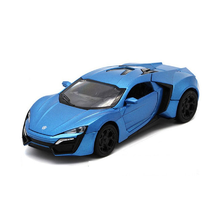 Blue 1:32 Die Cast Metal Fast and Furious Luxury Pull Back Car Toy with  Light and Sound Effects