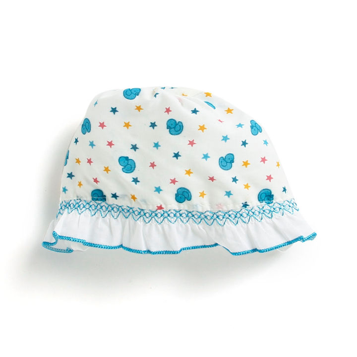 a781c8f9f Cotton Baby Cap With Blue Duck Prints