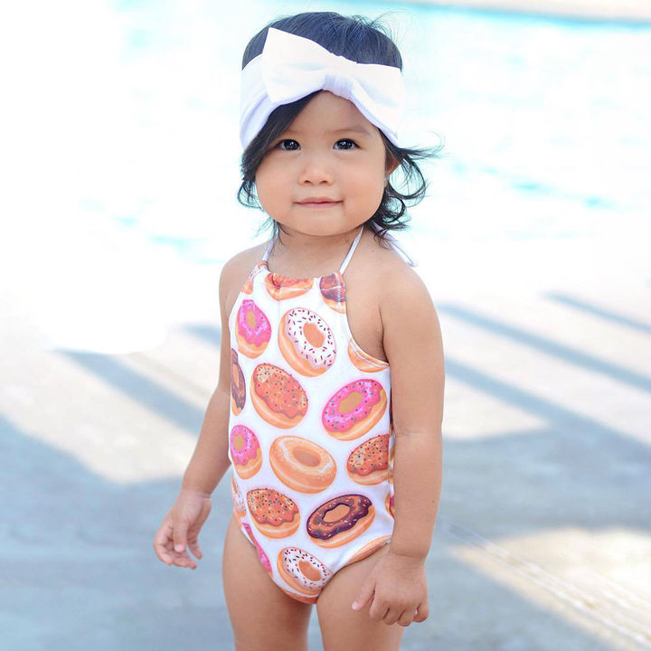 412c182490 Hopscotch - Milonee - Donuts Printed One Piece Swimsuit - Pink