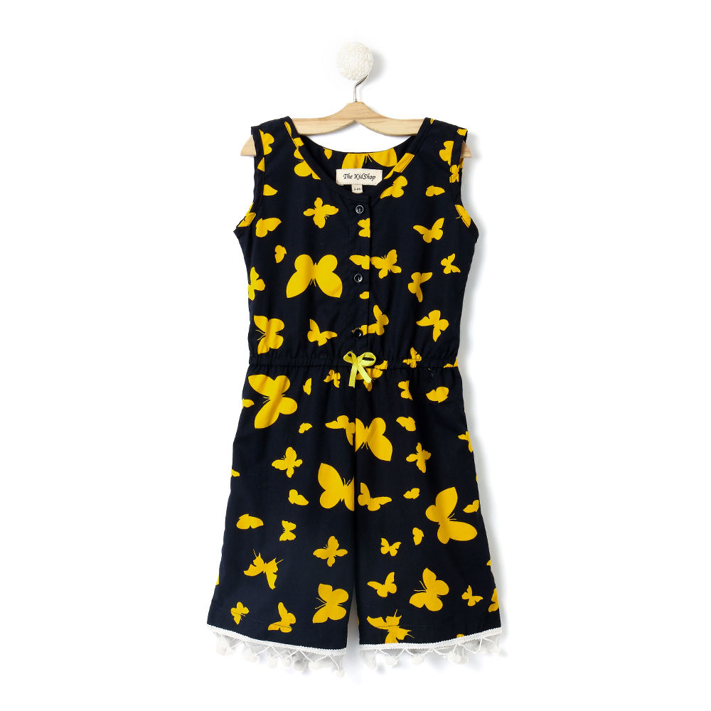 6d91a3a4e37 Hopscotch - The KidShop - Yellow Butterflies on Black Jumpsuit with Lace  Droops