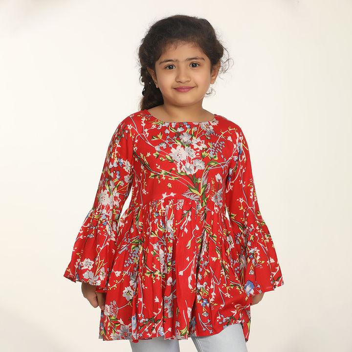 fec8c9a200f424 Buy Dark Red Floral Bell Sleeves Top online @ ₹499 | Hopscotch