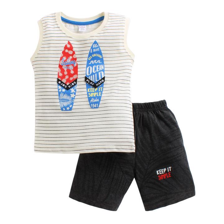 168b7ab0 Hopscotch - OJO's - Stripe Print White T-Shirt Shorts Set