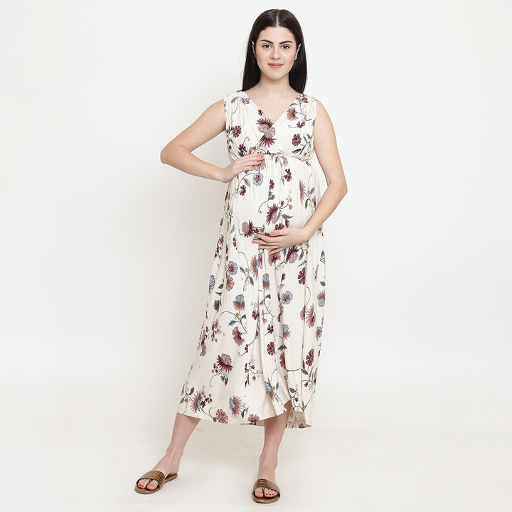 a50d866f79b657 Hopscotch - Tiara - Floral Print V Neck Maternity Maxi Dress - Beige