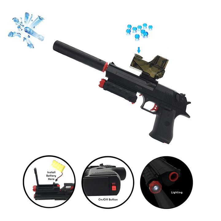 Flash Light Shooting Gun Toy With 5000 Crystal Bullets And Rechargeable  Batteries