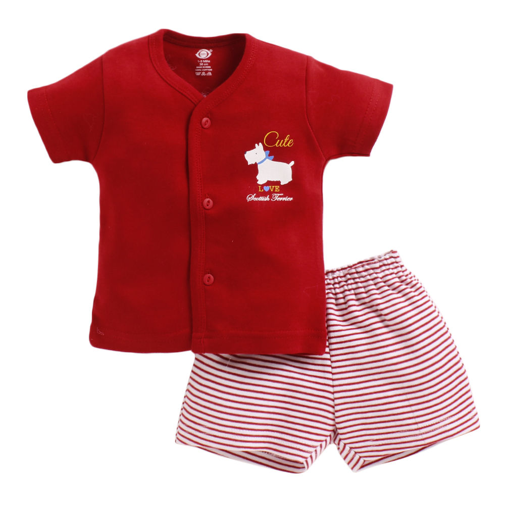 783df2c1d413 Hopscotch - ZERO - Red Graphic Half Sleeves Jabla and Shorts Set