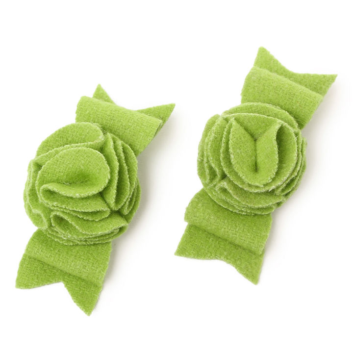 3c4ee8702f4c7 Green Floral Hair Bow Clip (Set Of 2)