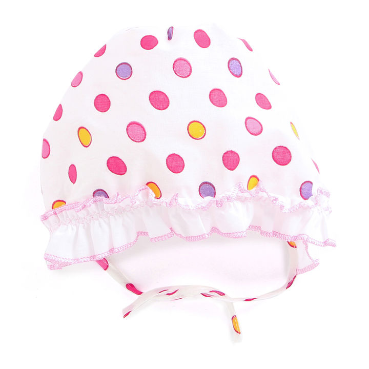 063291917 Cotton Baby Cap With Polka Dots Prints - Pink