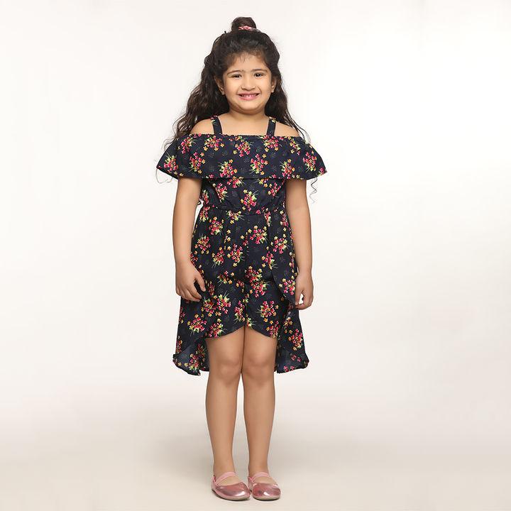 b07fa8d0d6 Hopscotch - Lilpicks couture - Rose Print Navy Blue Dress Jumpsuit