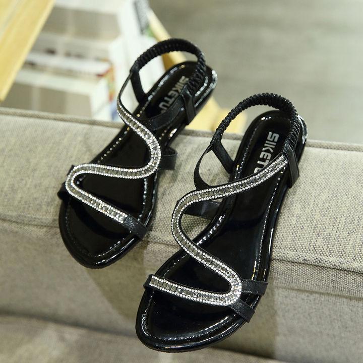 358d4aaea842 Hopscotch - SIKETU - Women Black Glossy Beaded Sandals