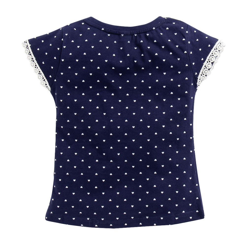 1c04329d74e203 Hopscotch - OJO s - Text   Heart Print Cotton Navy T-Shirt