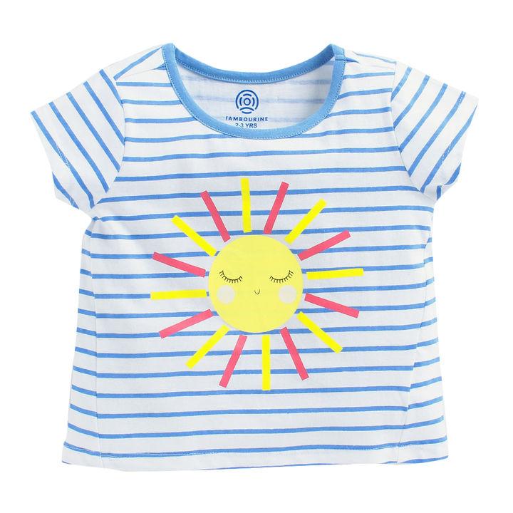 64b6e657f4cb Buy Aqua Blue Short Sleeve Stripes T-Shirt With Sun Print for Girl's online  @ ₹399 | Hopscotch