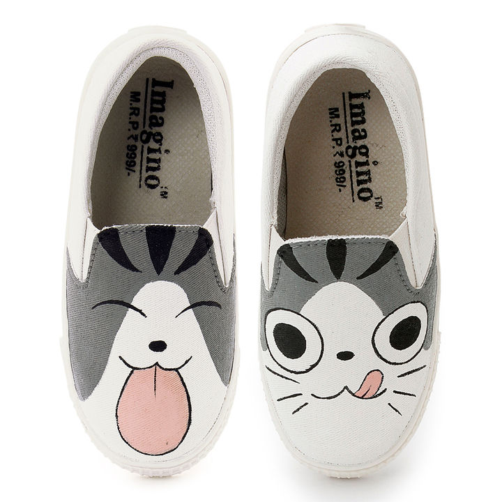 a37bff8195114 Gray Cat Hand Painted Canvas Slip On Shoes
