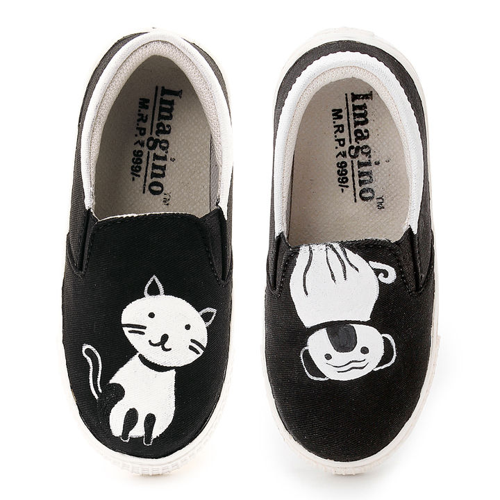 cd34d226ac1ee Cat And Dog Hand Painted Canvas Slip On Shoes
