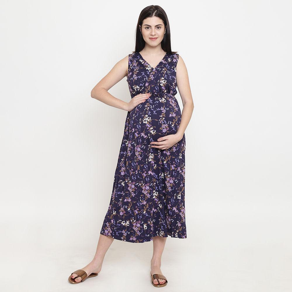 b7570565bdaf8 Hopscotch - Tiara - Purple Floral Print V Neck Maternity Maxi Dress