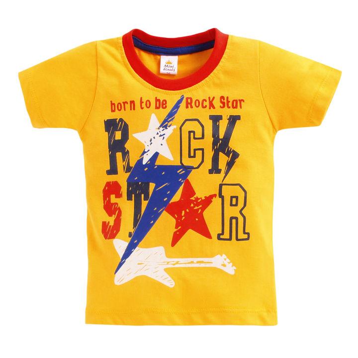 Yellow Text Print T-Shirt And Short Set